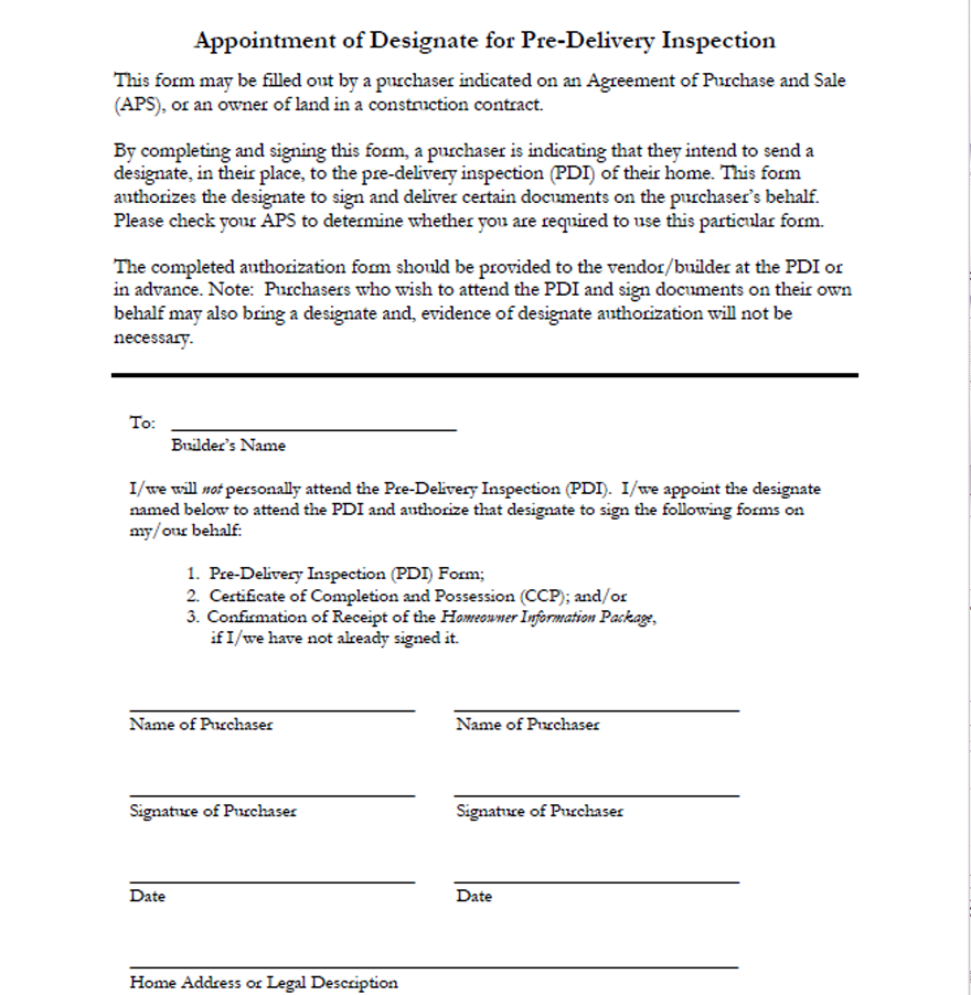 Appointment of Designate for the Pre-Delivery Inspection Form
