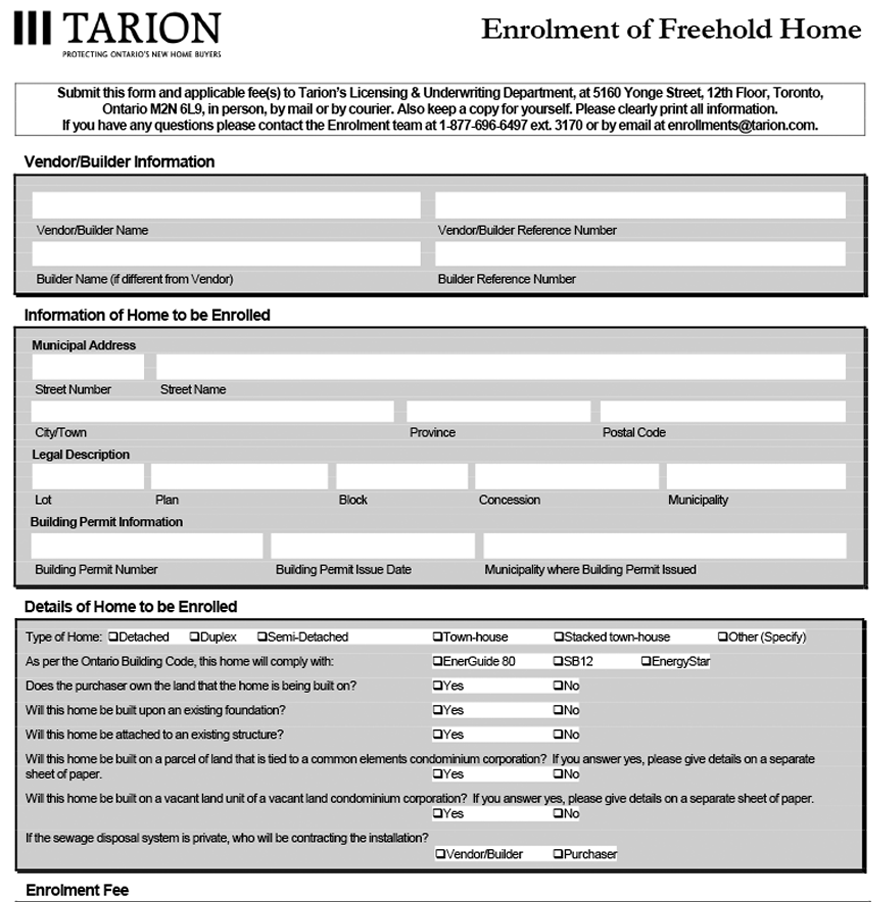 Freehold Enrolment Form