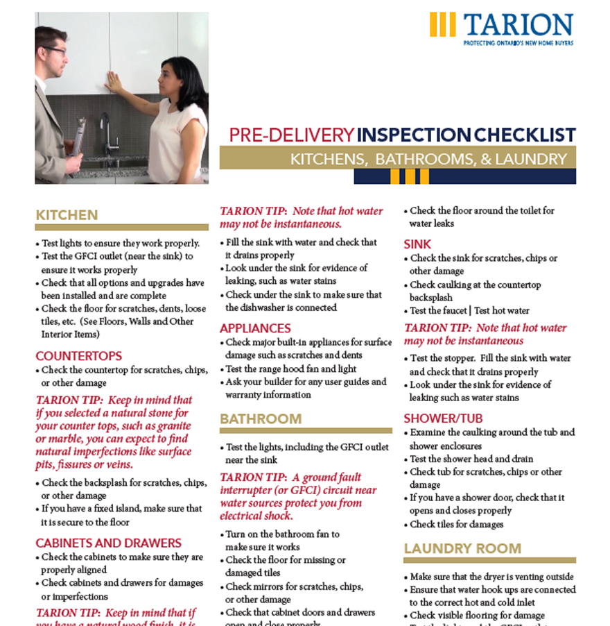 pre delivery inspection checklist