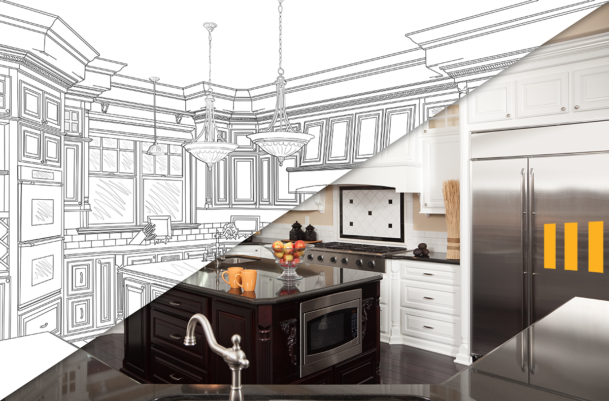 Split screen of a kitchen half drawn and half in photo