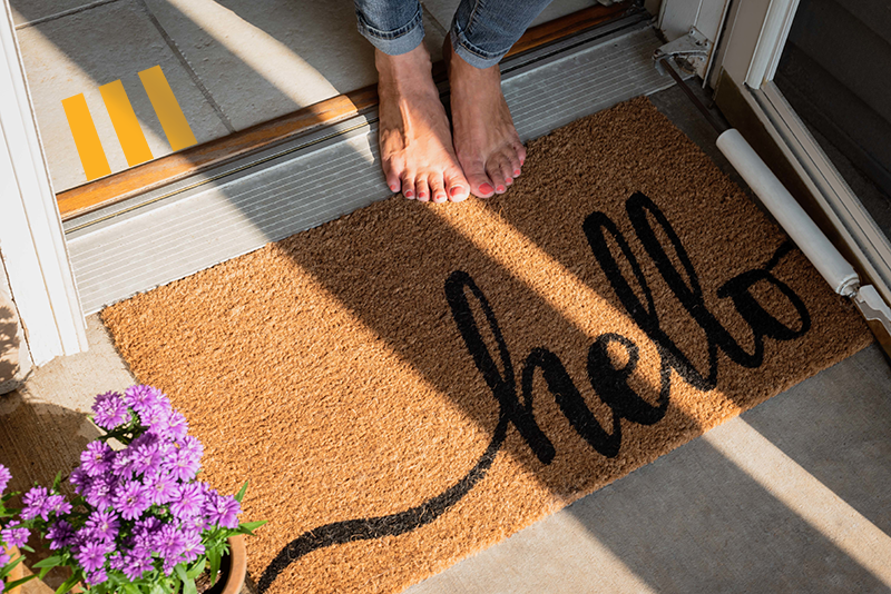 "Welcome mat that says ""hello"""