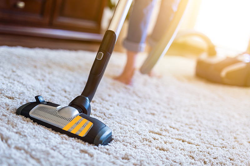 Vaccuuming a carpet
