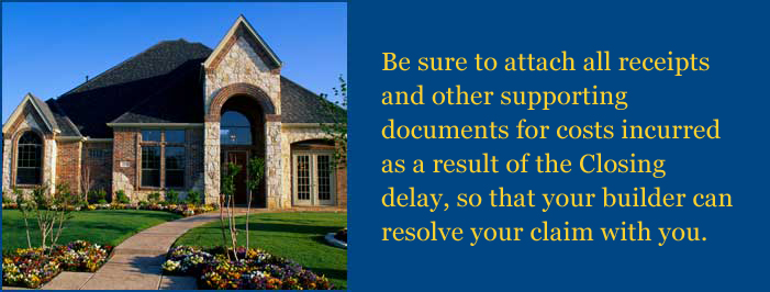 Be sure to attach all receipts and other supporting documents for costs incurred.